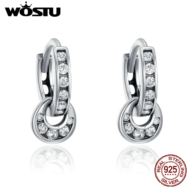 WOSTU Authentic 925 Sterling Silver Double Circle Dazzling CZ Round Earrings For Women Luxury  Jewelry Bijoux CQE139