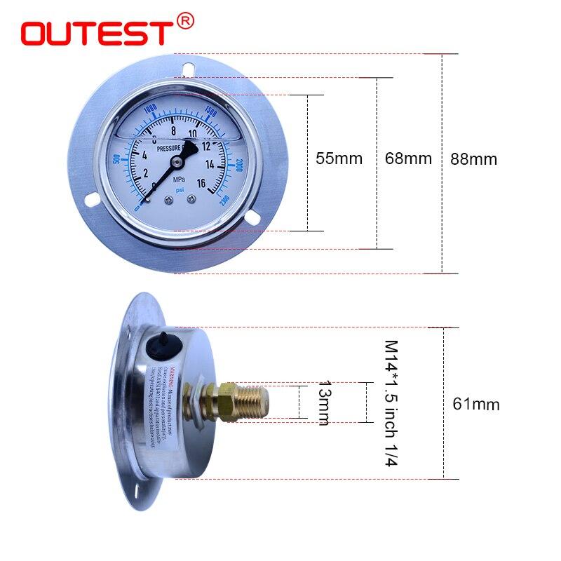 OUTEST мини-манометр из нержавеющей стали для воздушного масла и воды, гидравлический Манометр с резьбой G 1/4, манометр, манометр с двойной шкал...