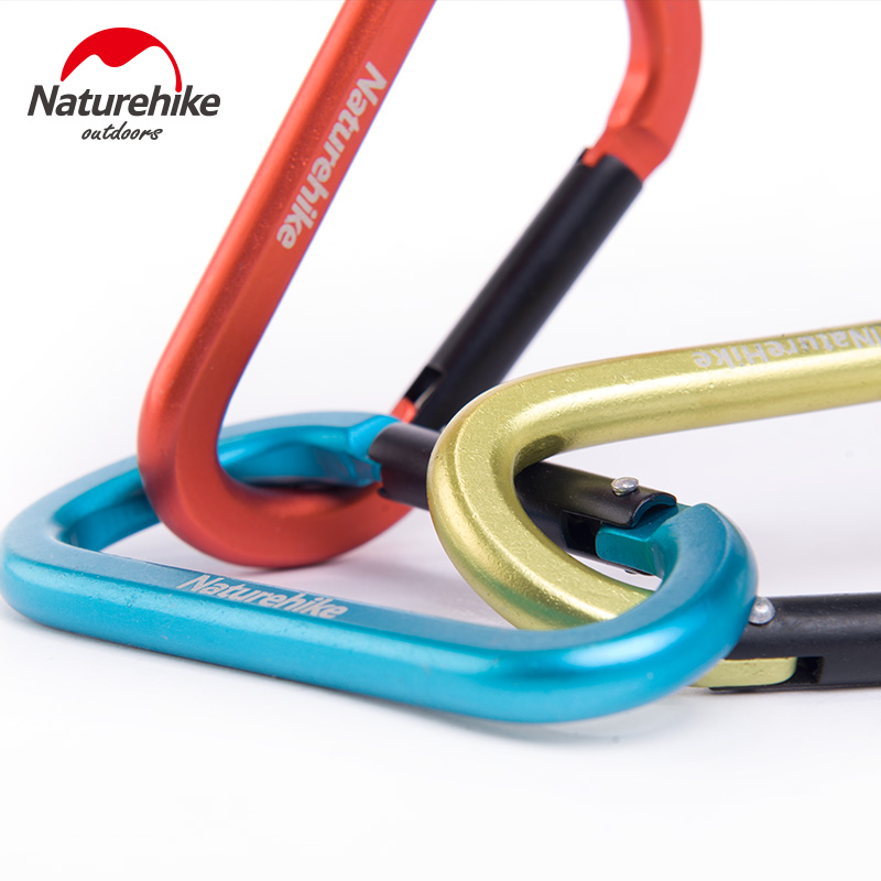 3pcs Naturehike D Shape Camping Carabiner 8cm Aluminum Hook Clip Holder Buckles Survival Kits Fast Hang Buckle Hook