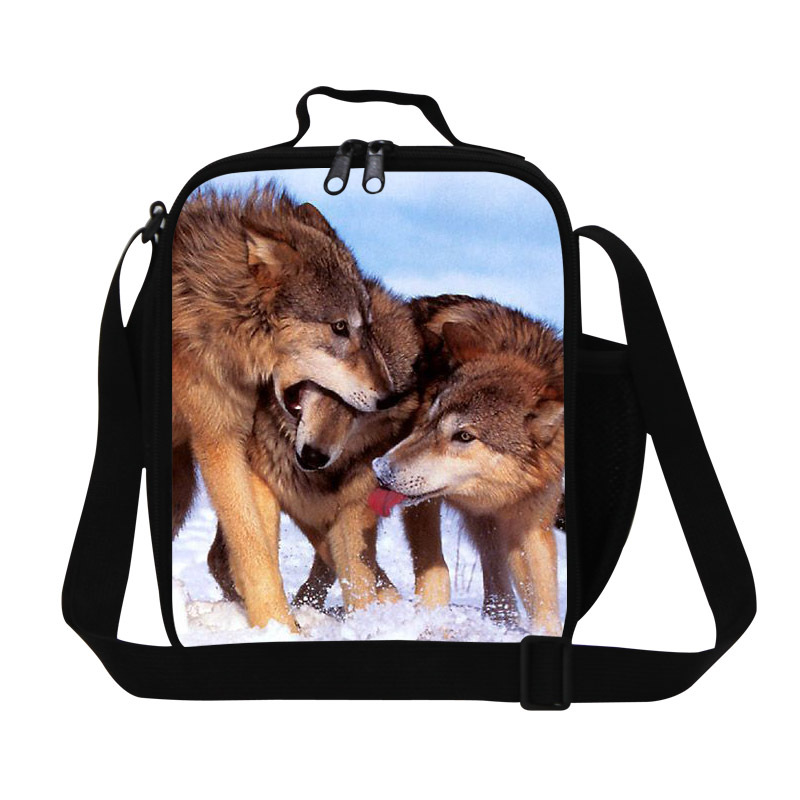 Polyester sling lunch bags for womens,wolf print insulated cooler bags for boys children,cool kids lunch containers,men meal bag