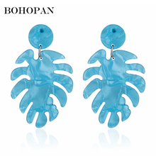 Vintage Banana Leaf Drop Earrings for Women Creative Geometric 4 Color Resin Dangle Fashion Jewelry Accessories