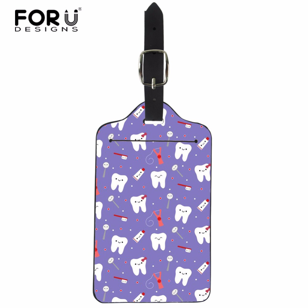 FORUDESIGNS Dental Suitcase Luggage Tag Fashion ID Address Holder PU Leather Baggage Label Identifier Travel Accessories Card