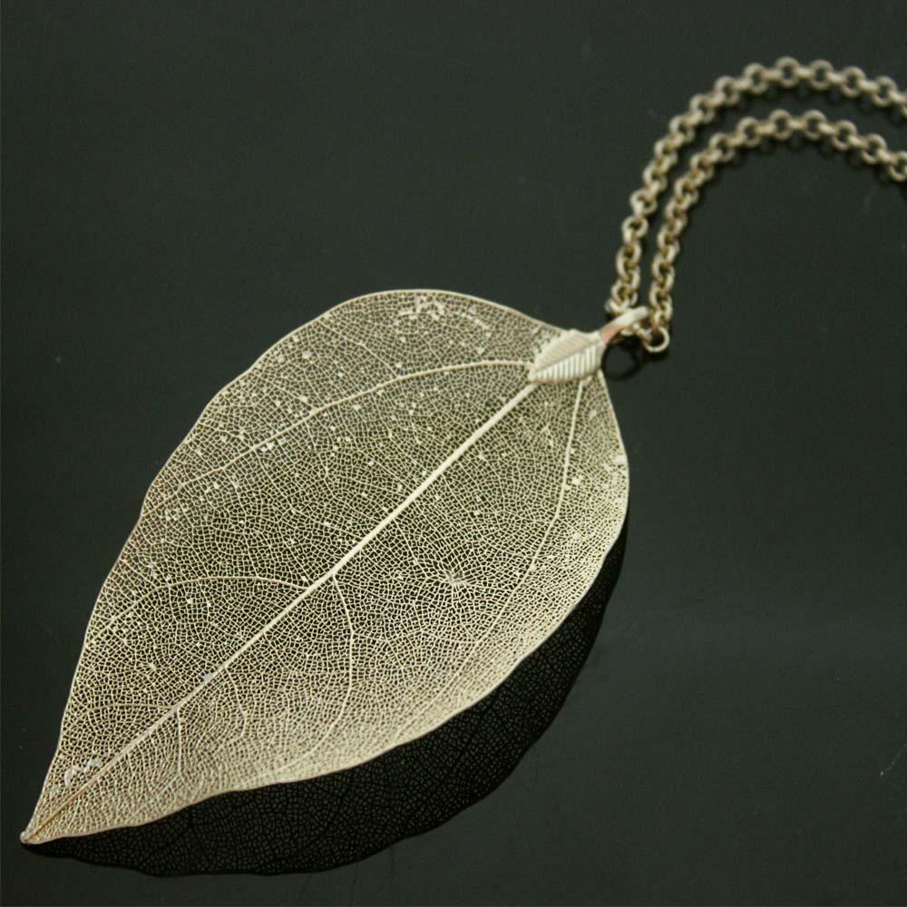 Leaf Necklace Gold Plated Natural Leaf Pendant Maxi Long