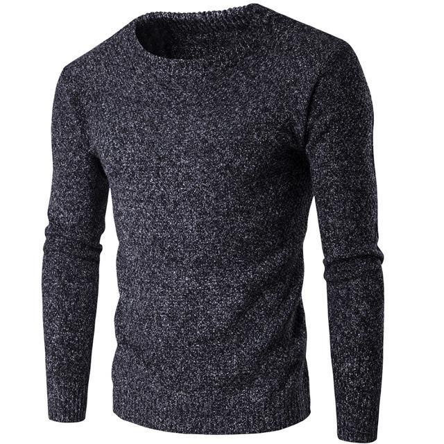 Gris oscuro 2017 Nueva Otoño Invierno Marca Ropa Hombres Suéter Slim Fit Invierno Hombres Suéter de Color Sólido Suéter de Punto para Hombres