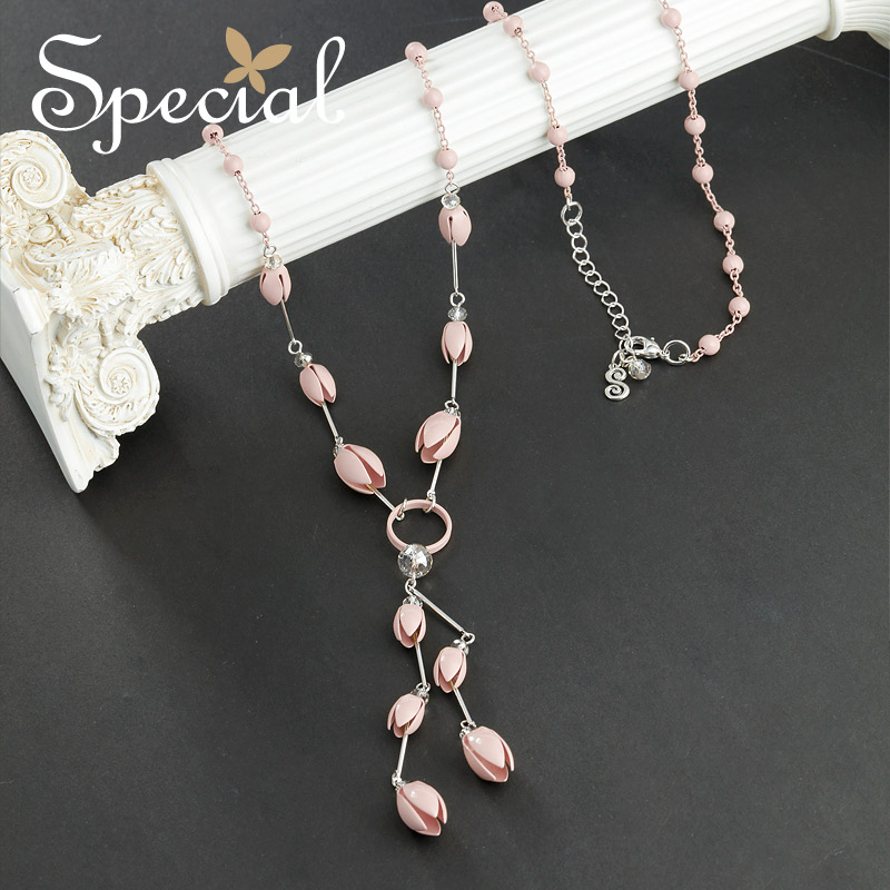 Special Fashion Enamel Necklaces & Pendants Tulip Flower Maxi Neckalce Pink Long Necklace Jewelry Gifts for Women S1756N