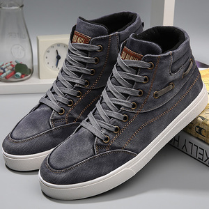 Image 2 - Mens denim footwear wear resistant fashion high top sneakers casual shoes men lace up 2019 hot brand shoes black