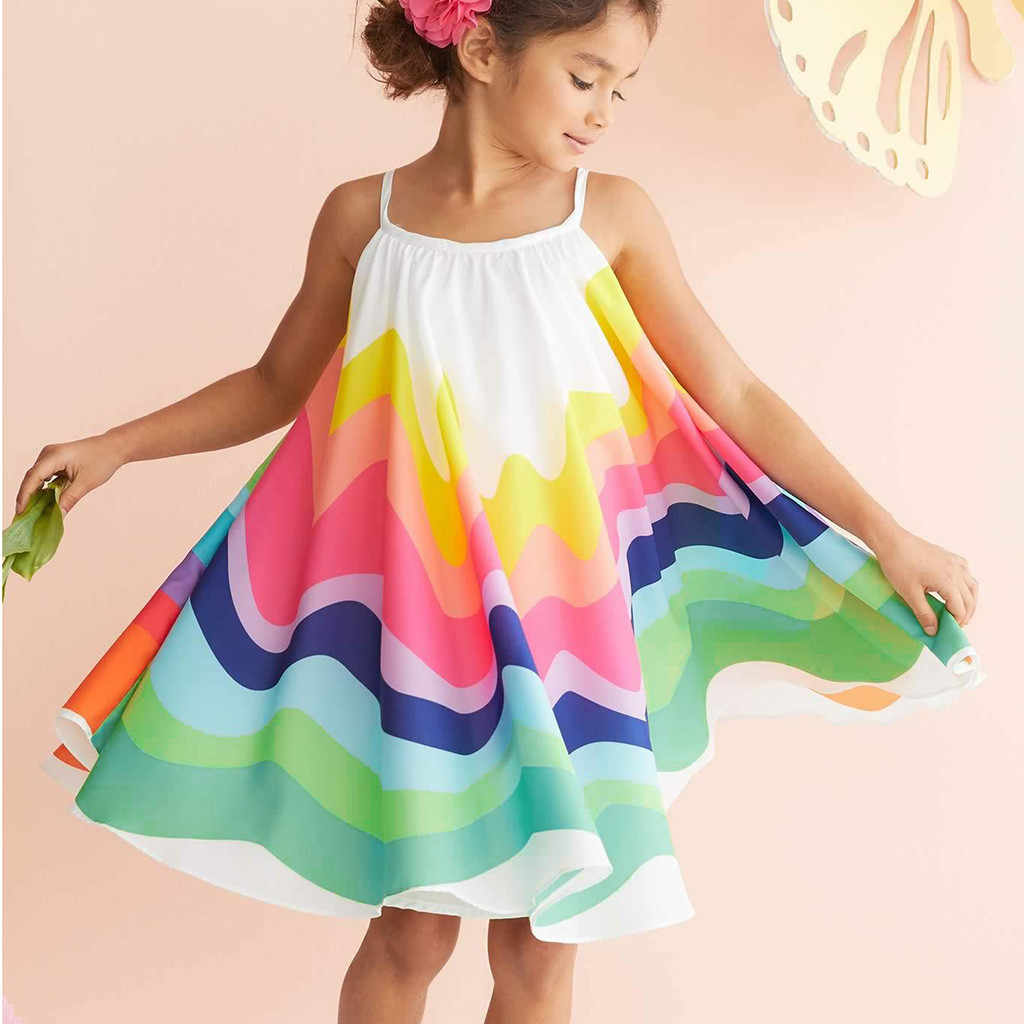 bff3c727f405 Children's Suit Cotton Fashion Summer Kid Rianbow Toddler Baby Girl  Sleeveless Cartoon Dinosaur Print Dress Dresses