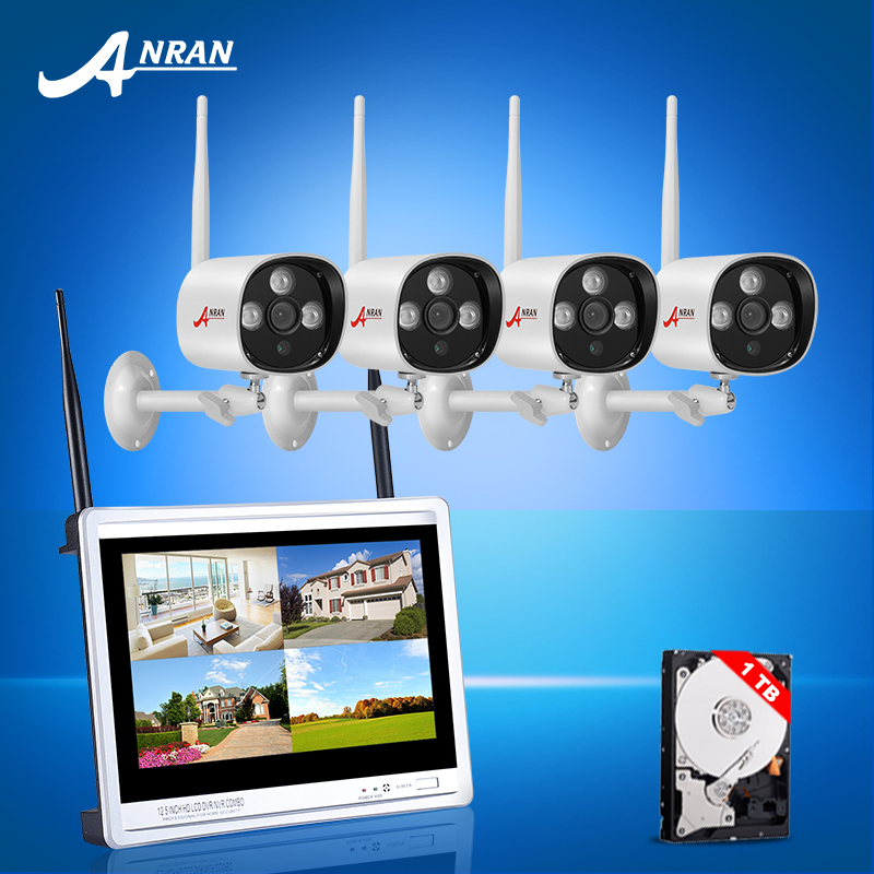 ANRAN 4CH Wireless NVR CCTV System 12LCD Screen 1TB HDD P2P Cloud 720P HD Outdoor WIFI IP Camera Security Video Surveillance Kit