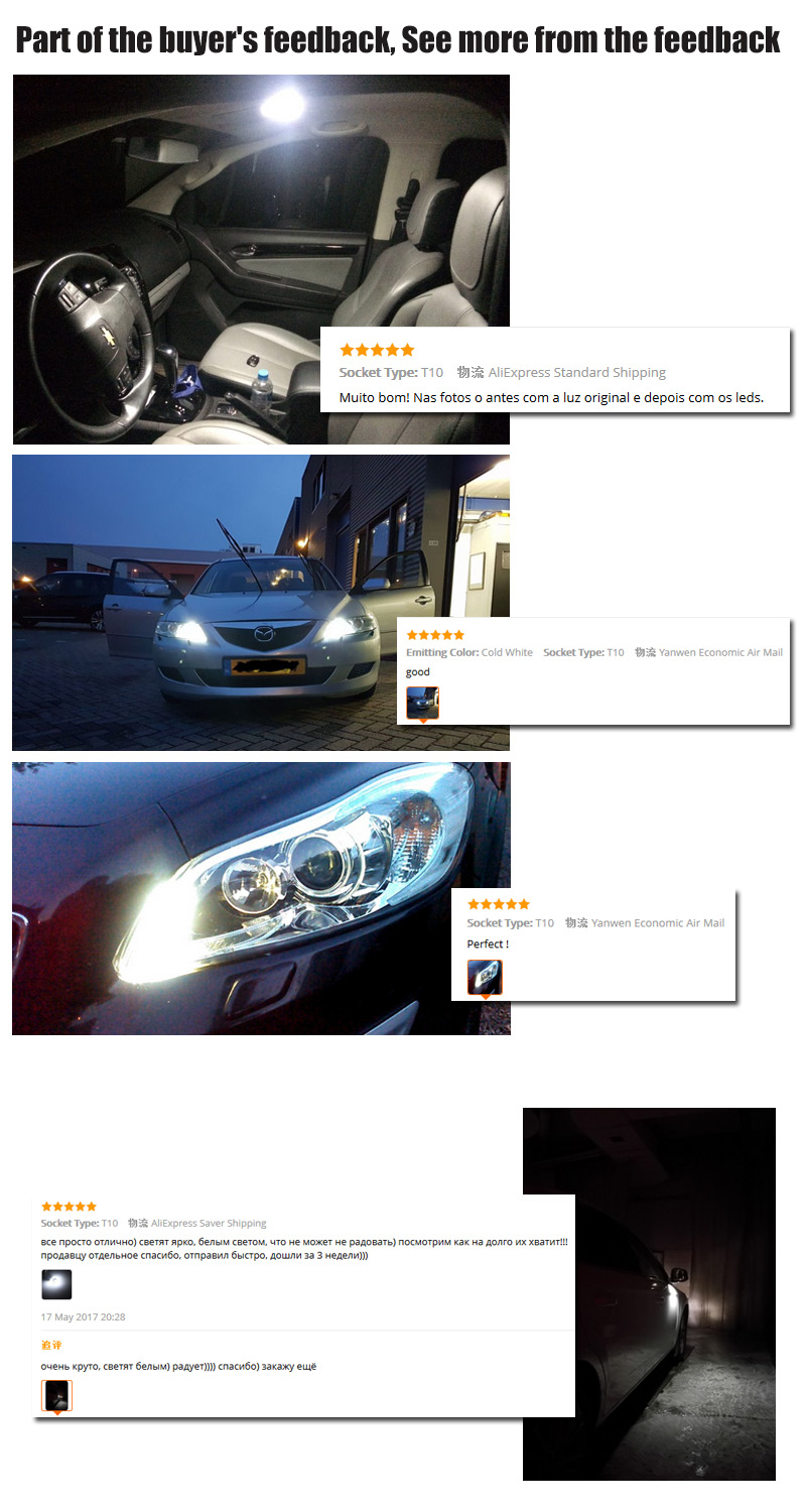 4Pcs W5W 10-7020 SMD Car T10 LED 194 168 Wedge Replacement Reverse Instrument Panel Lamp White Blue Bulbs For Clearance Lights