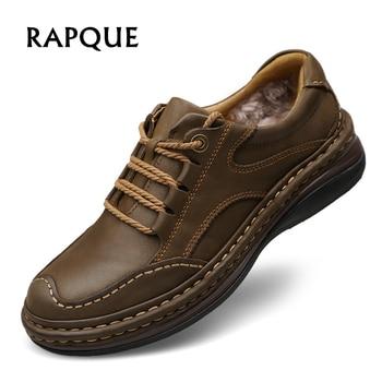 Zapatos casuales de invierno de cuero genuino de vaca de felpa de alta calidad para hombre oxford estilo clásico antideslizante otoño calzado zapatos de primavera
