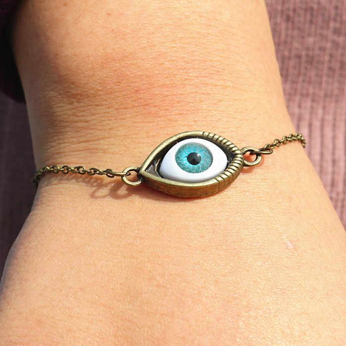 L193 ยุโรป Pulseira New Men Gothic Vintage Blue Evil Eye Charm สร้อยข้อมือกำไลข้อมือสำหรับผู้หญิงเครื่องประดับของขวัญ pulseras