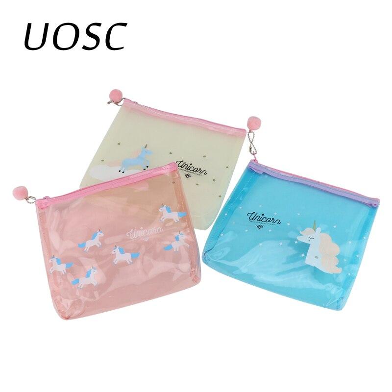 UOSC Unicorn Travel Make Up Case Women Transparent Cosmetic Bag Zipper Makeup Beauty Wash Organizer Toiletry Storage Kit Box