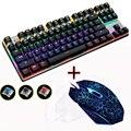 CERO Azul/Negro/Rojo Interruptor 87 Gaming Teclado Mecánico Anti-ghosting set Combo Ratón DPI wired retroiluminado llevó etiqueta Rusa