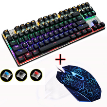 ZERO Blue/Black/Red Switch 87 Gaming Mechanical Keyboard Anti-ghosting Mouse Combo set DPI wired backlit led Russian sticker