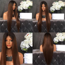Ombre Brown Human Hair Full Lace Wigs 100% Human Virgin Hair Two Tone Ombre Hair Silky Straight Glueless Lace Front Wigs