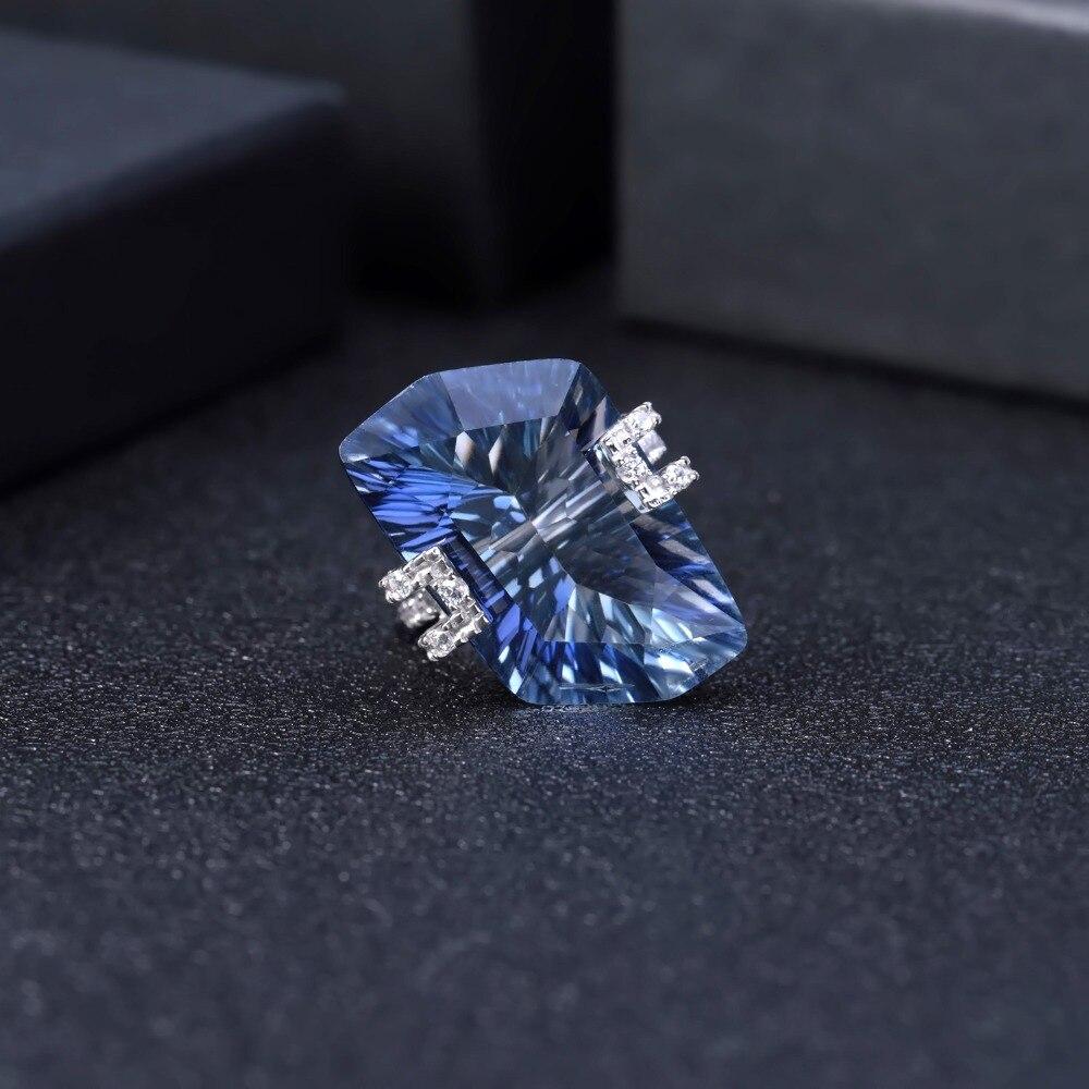 Image 3 - Женские коктейльные кольца gembs BALLET 21.20Ct, Natura Iolite,  голубой мистический кварцевый камень, стерлингового серебра 925  пробыКольца
