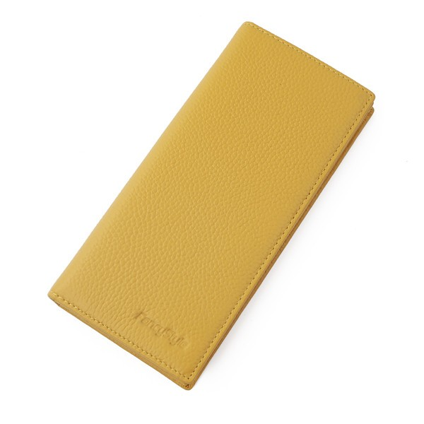 FancyStyle Women\'s RFID Blocking Wallet Clutch Long Bifold Pebbled Genuine Leather Travel Business Credit Card Holder Yellow (9)