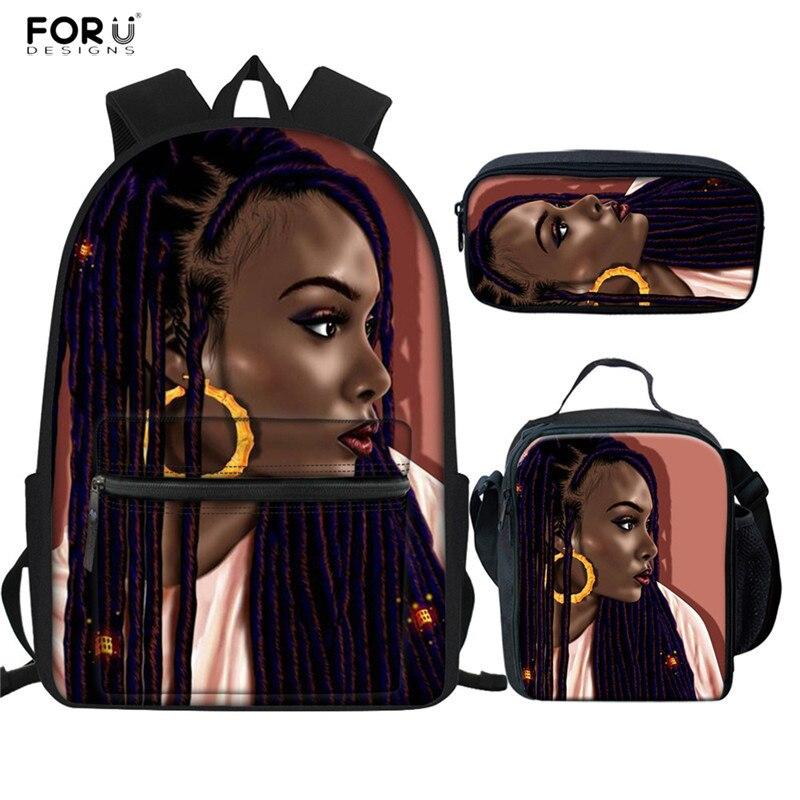FORUDESIGNS Afro Girls Pattern School Bags Set Black Women Art Backpack Casual Junior Girl Schoolbag Travel Softback Bolsa Mujer