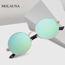 MOLAUNA Retro Round Sunglasses For Women Brand Design Fashion Mirror Sun Glasses Alloy TR90 Shades Eyewear Oculos De Sol UV400 molauna round sunglasses women brand designer retro sun glasses for women fashion mirror shades female glasses oculos de sol