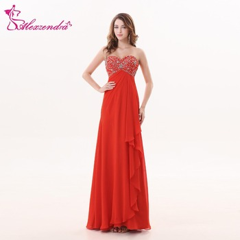 Alexzendra Red A Line Beaded Bodice Long Prom Dresses Sweetheart Evening Party Dresses Customized