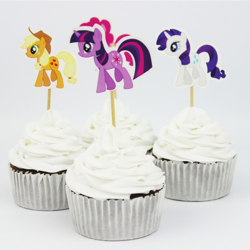 24pcs lot 6 designs my little pony cupcake topper picks for Cupcake home decorations