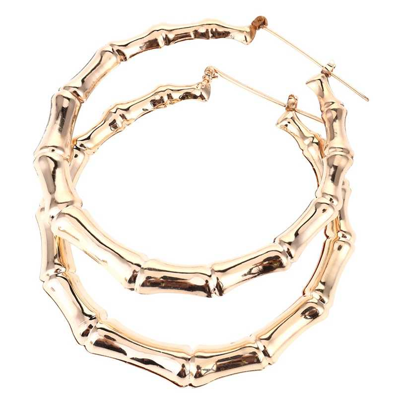 1 Pair New Trendy Bamboo Hoop Earrings Women Female Gold Silver Color Color Classic Jewelry Gifts