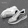 EOFK 2016 Fashion New Women Crystal Patent Leather With Glitter Causal Shoes Brand Design Lace Up Flats sliver Shoes