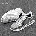 Eofk 2016 moda nuevo de las mujeres de cristal de charol con glitter zapatos causales marca diseño lace up pisos zapatos astilla