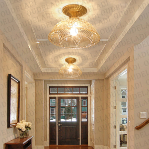 Image 3 - מודרני LED נחושת אקריליק זכוכית תקרת אורות דקורטיבי תאורת מסדרון חדר שינה סלון רטרו E27 מנורות עם