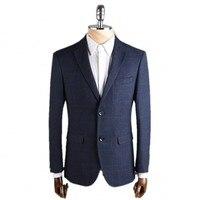 2016 New Arrival High Quality Single Breasted Classic Lattice Blue Blazer Men Casual Jacket Men Slim