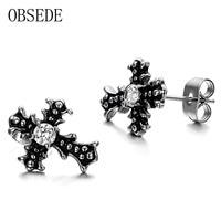 OBSEDE Punk Black Croos Stud Earrings With Crystal Stainless Steel Earrings Cubic Zirconia Charm Fine Jewelry