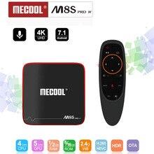 Mecool m8s pro w smart tv caixa android 7.1 amlogic s905w quad core 2 gb 16 gb 1 gb 8 gb controle de voz 2.4g wifi 4 k definir caixa de tv superior