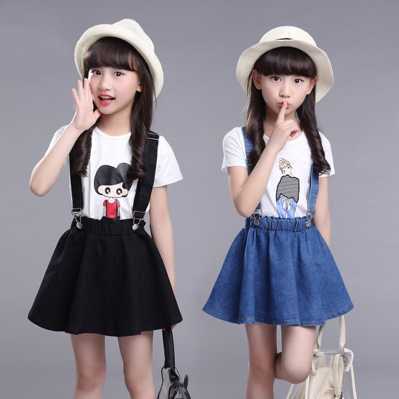New 2017 Summer Girls Dress Clothing Sets Fashion Short Sleeve T-shirt+Denim Cotton Skirts Children Kids Girl Clothes 2pcs Set мужская футболка gildan slim fit t tee lol 14415