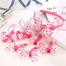 6 Pcs/Set Baby Hair Clips Hairband Bows Girl Accessories Headband Girls Chiffon Cartoon Barrettes Elastic Band