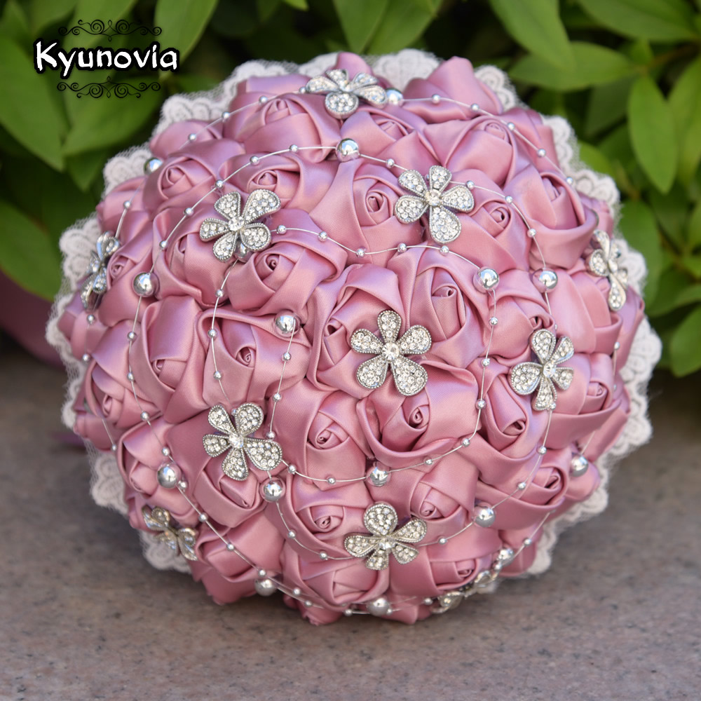 Kyunovia 14 Optional Colors Vintage Plum Wedding Flowers Satin Roses Bridal Bouquets Lace Brooch Bouquet With Silver Beads FE63