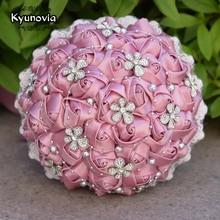 Kyunovia ramos de novia de rosas de satén, 14 colores opcionales, Vintage, ciruela, flores de boda, ramo de novia, broche con encaje con cuentas plateadas, FE63