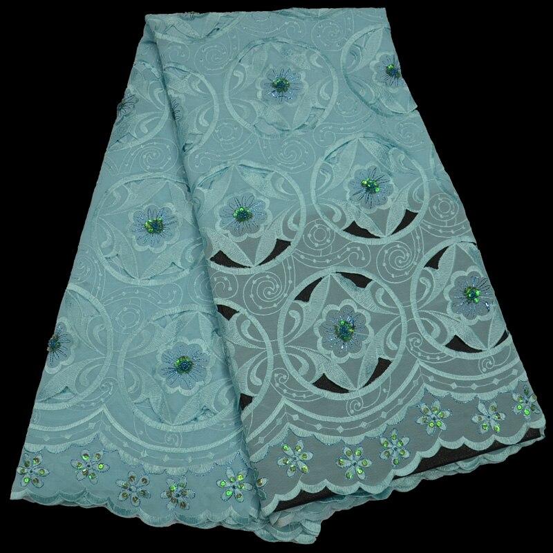 Livraison gratuite (5 yards/pc) Aqua vert africain coton dentelle tissu handcut suisse voile dentelle avec des paillettes pour robe de soirée CLP224