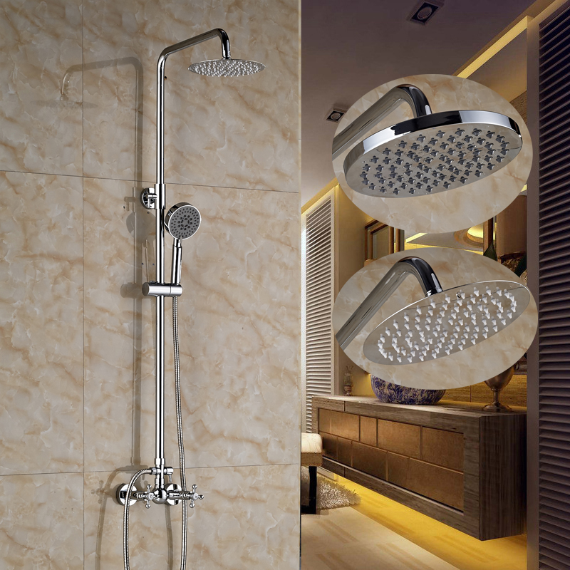 ⊰Wall Mounted Shower Faucet Set 8 Bathroom Shower Head With Hand ...