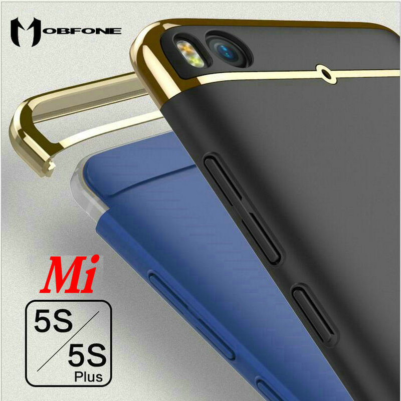 Mobfone case For Xiaomi Mi 5s Mi5s Plus / 5s Plus Plating 3 in 1 Plastic Ultra Thin Slim Matte Back Cover Fundas Coque Capas