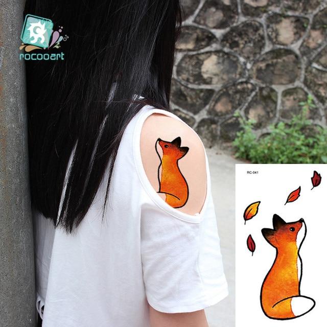 Rocooart Animal Waterproof Temporary Tattoo Sticker Flamingo Cat Fox Tatoo Body Art Women New Fake Taty Tatuaje Cute Small Tatto 3