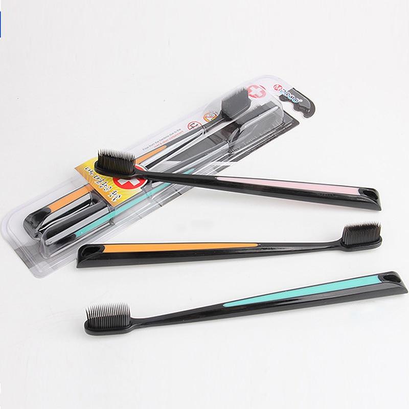 2Pcs Nano Bamboo Charcoal Toothbrush Double Ultra Soft Tooth Brush Tongue Cleaner Black Heads Nano-antibacterial Toothbrush 2