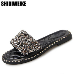 2019 Summer Shoes Woman Flat Sandals Fashion Rivet Crystal  Female Slides Ladies Comfortable Shoes size 35--40 Zapatos Mujer 1