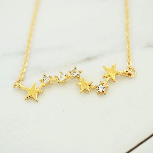 4b395d9f0898 Nueva joyería de oro de color estrella constelación collar colgante bonito regalo  para las mujeres chica