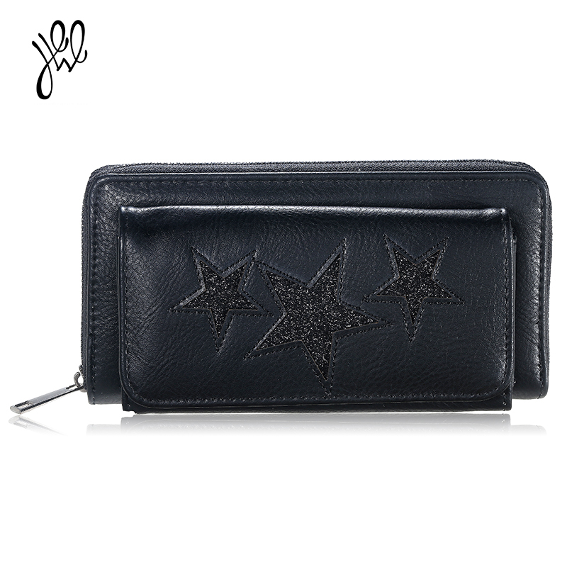Women Wallet 2018 Leather Wallet Brand Fashion Star Wallets Long Zipper&Hasp Coin Purse Lady Passport Wallet Big Clutch 500584