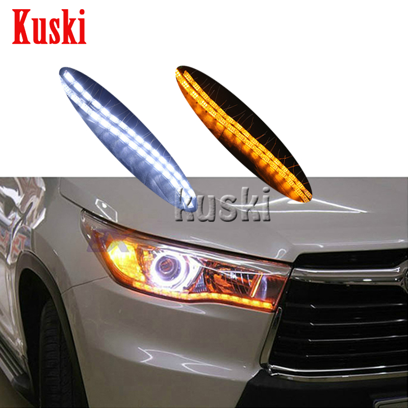 LED Knight Rider Strip Light for Sequential Flasher DRL Turn Signal Daytime running lights for Bmw Audi Volkswagen Mercedes 2pcs jdm gold yellow 3000k samsung led 2835 smd h15 led bulbs for audi bmw mercedes volkswagen for daytime running lights