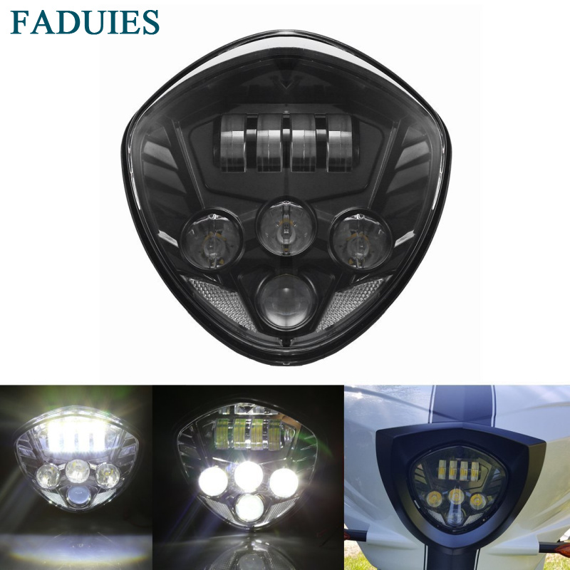 FADUIES Black Motorcycles LED Headlight Headlamp Kit 12V With High & Low Beam For Victory Cross Country