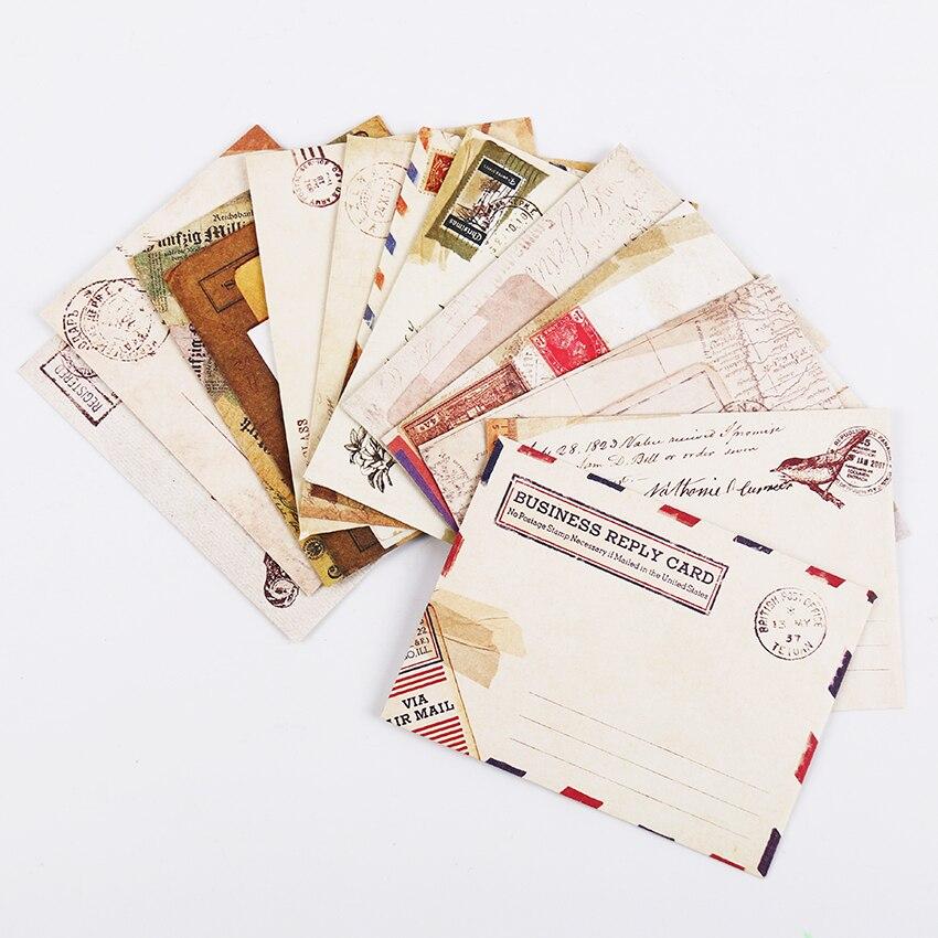 12 шт./компл. Мини Ретро Винтаж конверты из крафт-бумаги милый мультфильм Kawaii бумага корейский канцелярские подарок