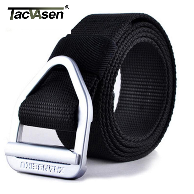 TACVASEN Men Army Tactical Belt Military Nylon Belts Men Waist SWAT Strap With Metal Buckle Rappelling Belt Waist