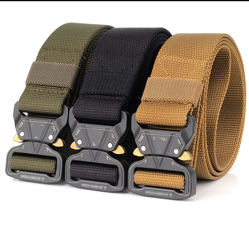 2019 Military Tactical Belts Nylon Waist Belt Zinc Alloy Buckle Adjustable Heavy Duty Training Waist Belt Hunting Accessories