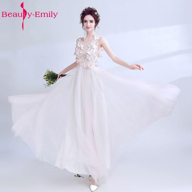 Красота Эмили Свадебная вечеринка легкий розовый шифоновый Bredesmaid платья 2017 See Through бабочки пикантные Длинные Пром Платья для вечеринок